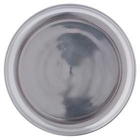 Piattino portacero semplice ottone argentato lucido s1