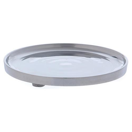 Piattino portacero semplice ottone argentato lucido 2