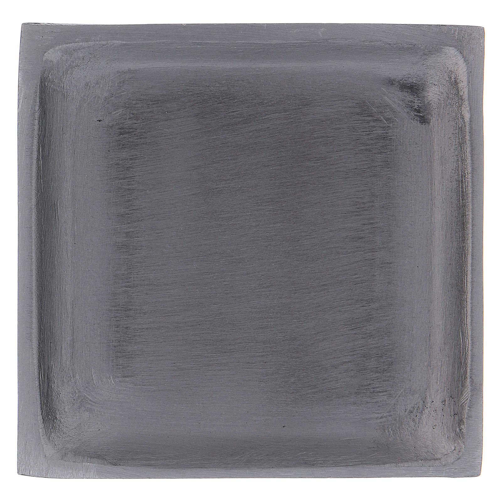 Piattino portacandela quadrato bordo rialzato ottone argentato 3