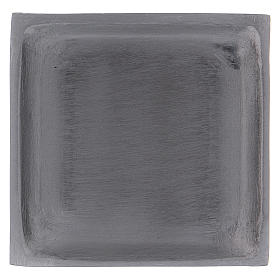 Piattino portacandela quadrato bordo rialzato ottone argentato s1