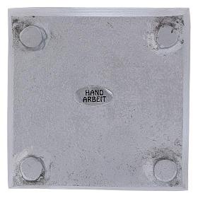 Piattino portacandela quadrato bordo rialzato ottone argentato s3