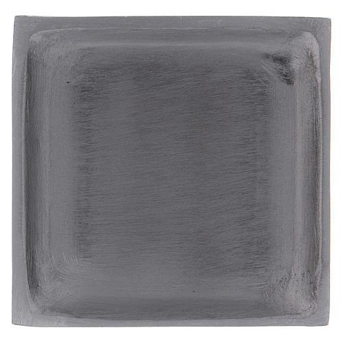 Piattino portacandela quadrato bordo rialzato ottone argentato 1