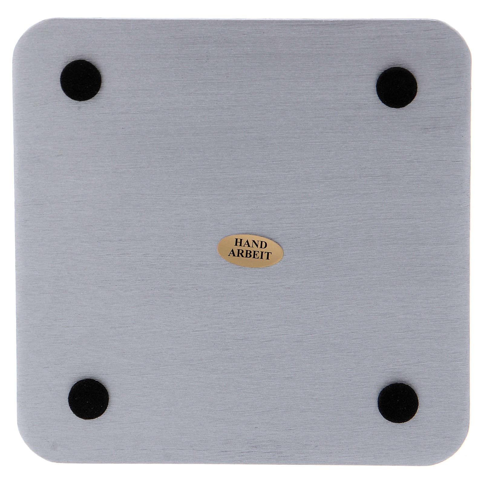 Piattino quadrato portacandele alluminio argentato satinato 14 cm 3