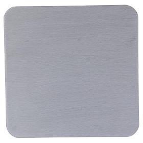 Piattino quadrato portacandele alluminio argentato satinato 14 cm s1