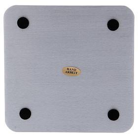 Piattino quadrato portacandele alluminio argentato satinato 14 cm s2
