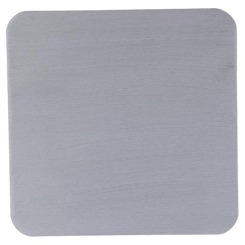 Piattino quadrato portacandele alluminio argentato satinato 14 cm 1