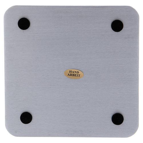 Piattino quadrato portacandele alluminio argentato satinato 14 cm 2