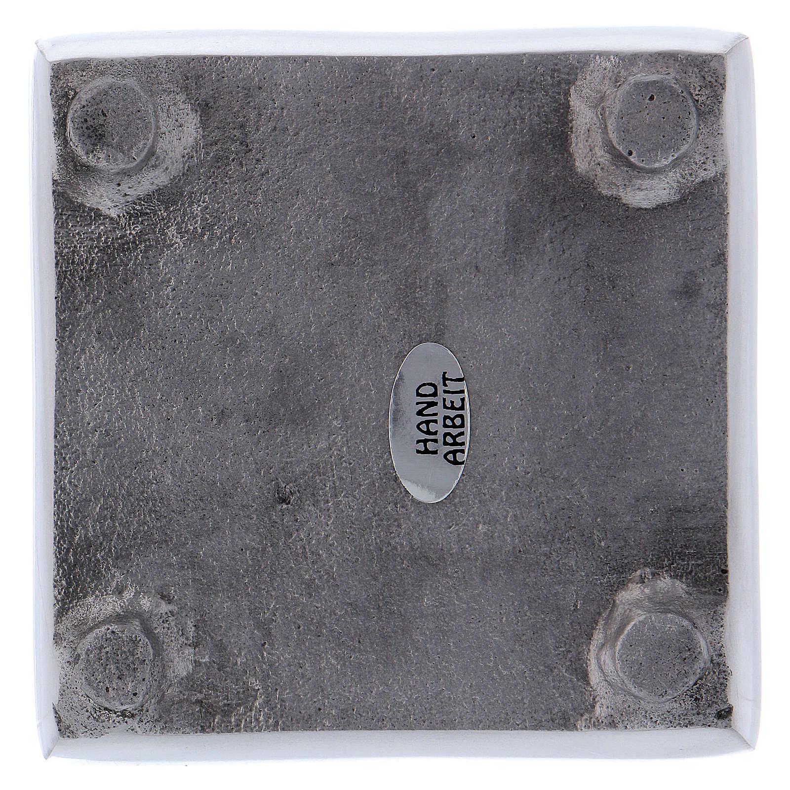 Portacandela stile moderno quadrato ottone argentato 8 cm 3