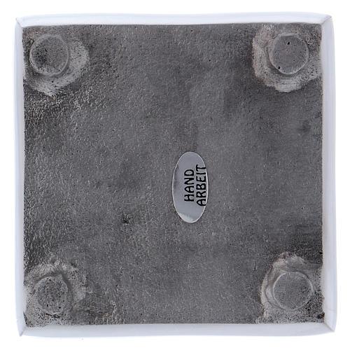 Portacandela stile moderno quadrato ottone argentato 8 cm 2