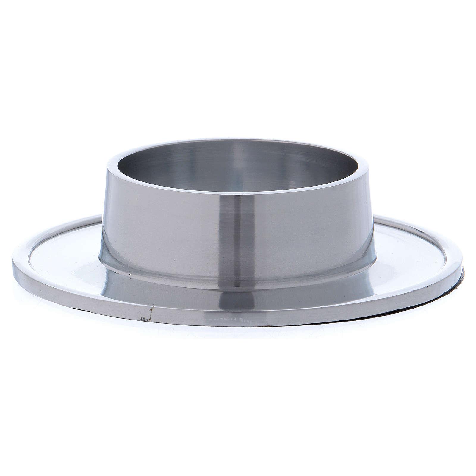 Piattino portacero semplice ottone argentato 7 cm 4