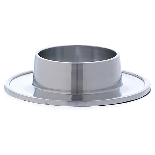 Piattino portacero semplice ottone argentato 7 cm 2