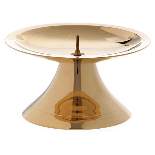 Portacandela semplice con punzone ottone dorato lucido 5 cm 2