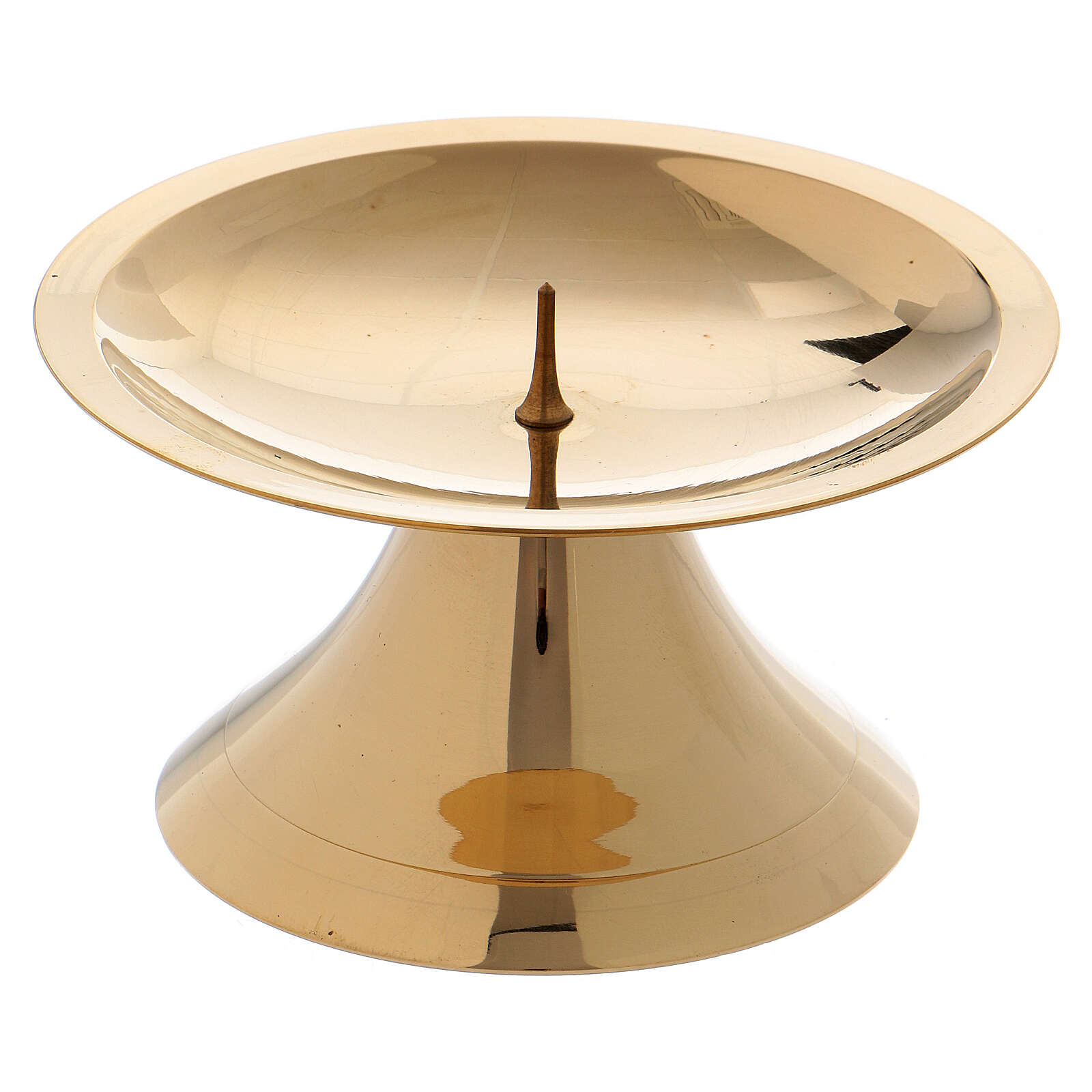 Simple candlestick with spie polished gold plated brass 2 in 4