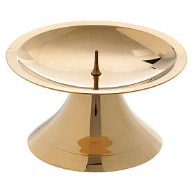 Simple candlestick with spie polished gold plated brass 2 in s1