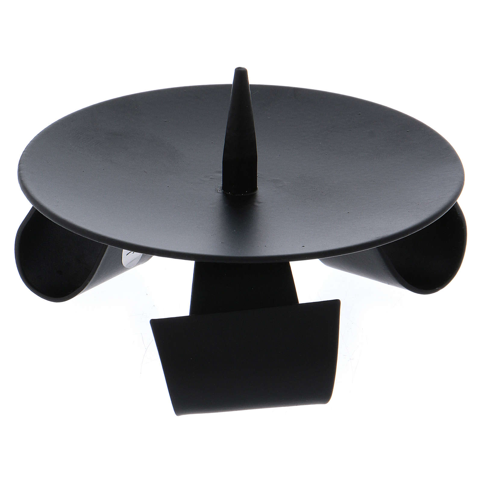 Modern-style tripod candle holder with jag in black iron 3
