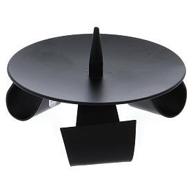 Bougeoir 3 pieds style moderne avec pique fer noir s2