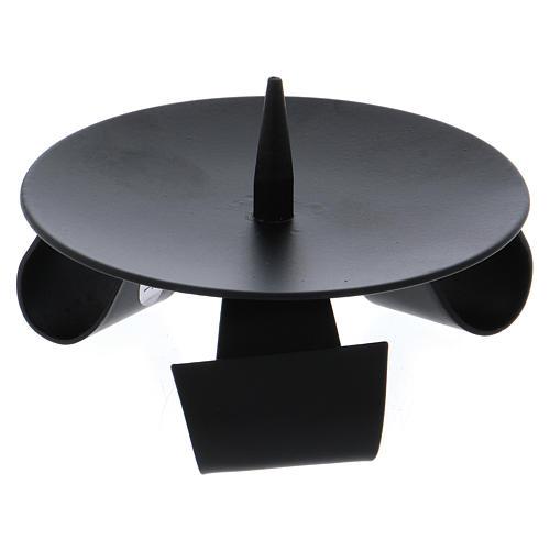 Bougeoir 3 pieds style moderne avec pique fer noir 2