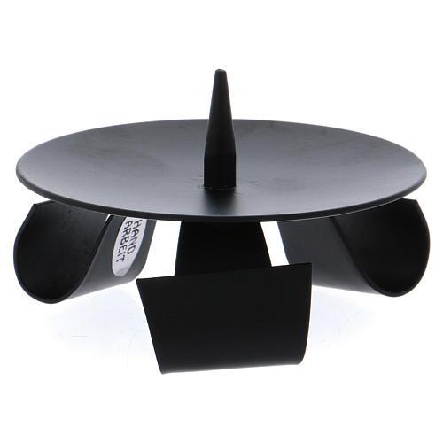 Portacandele 3 piedi stile moderno con punzone ferro nero 1