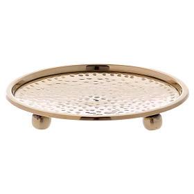 Platillo portavela martillado latón dorado 10 cm s1