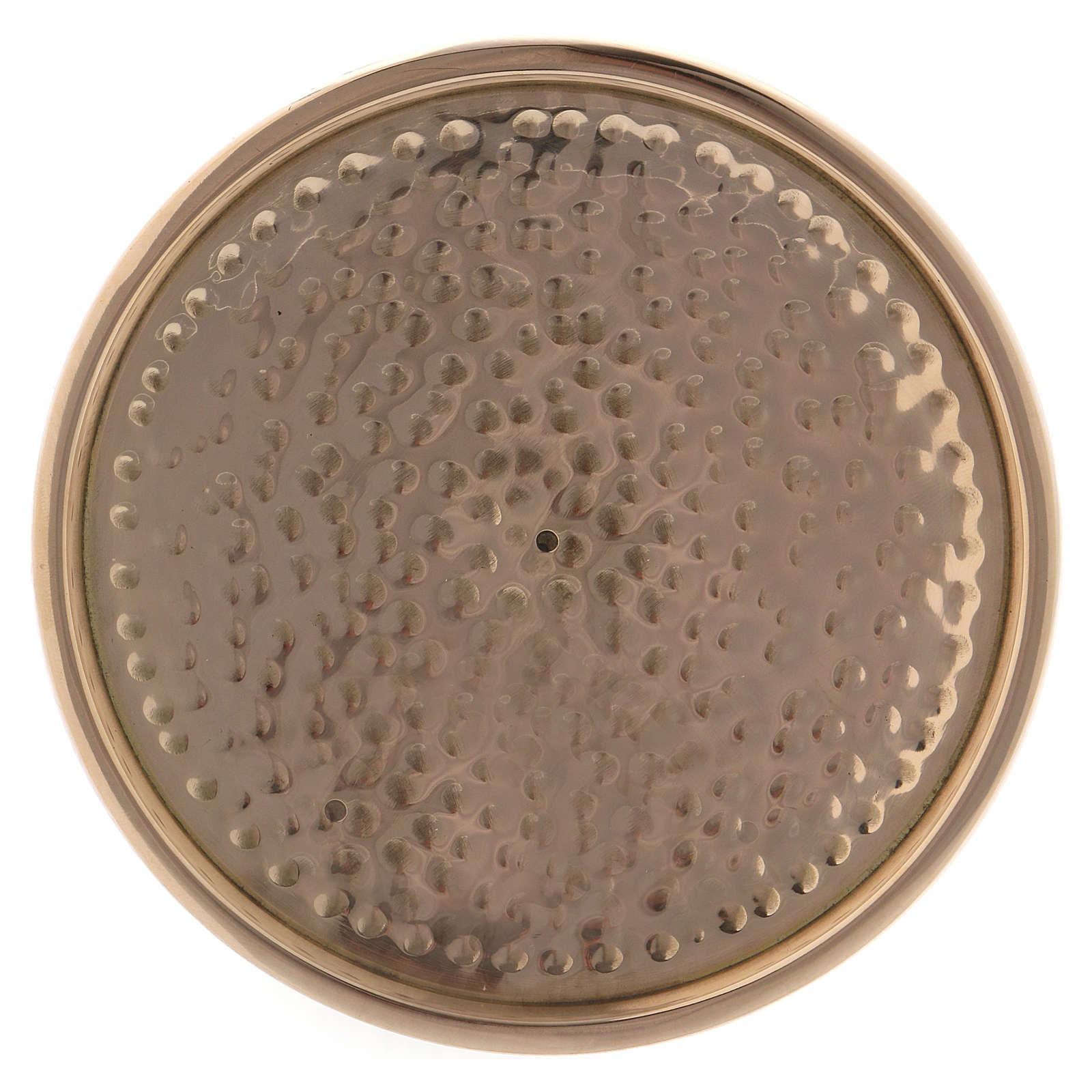 Assiette porte-bougie martelée laiton doré 10 cm 3