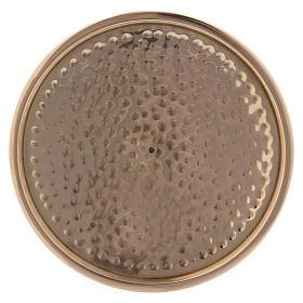 Piattino portacandela martellato ottone dorato 10 cm s2