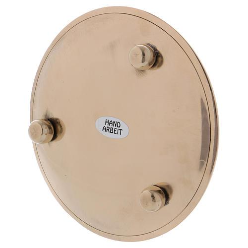 Piattino portacandela martellato ottone dorato 10 cm 3