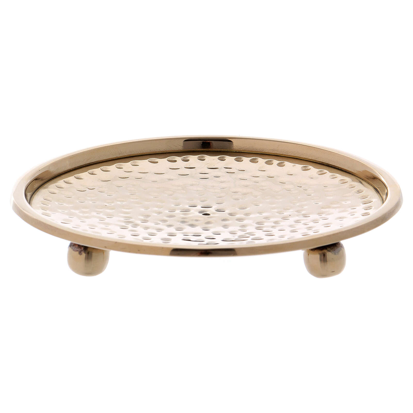 Hammered candle holder plate in gold plated brass 4 in 3
