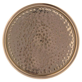 Hammered candle holder plate in gold plated brass 4 in s2