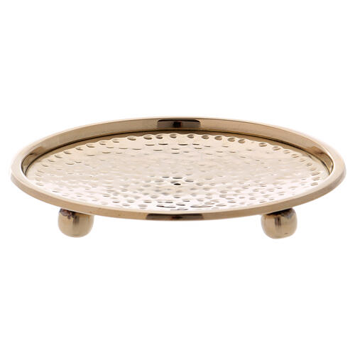 Hammered candle holder plate in gold plated brass 4 in 1