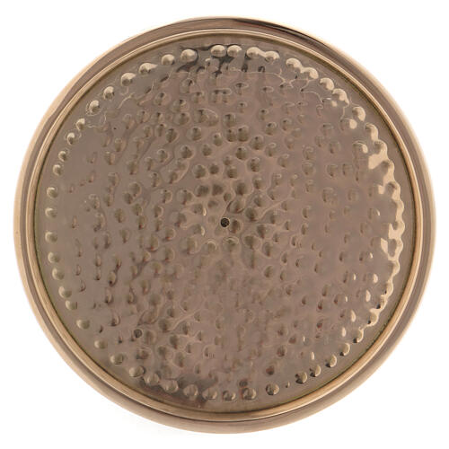 Hammered candle holder plate in gold plated brass 4 in 2