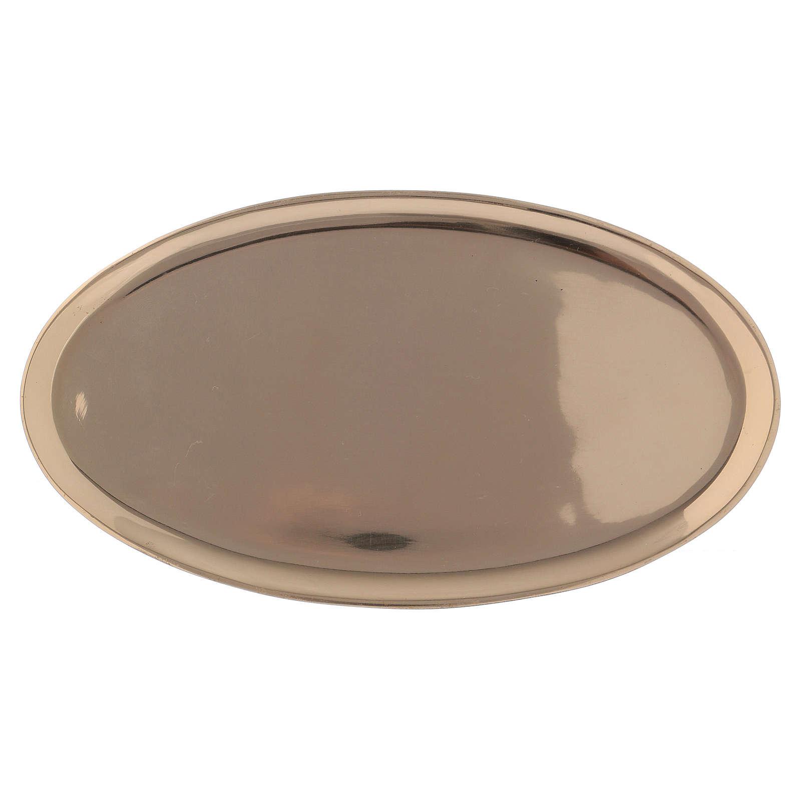 Piattino portacandela ovale ottone lucido a specchio 20x11 cm 3
