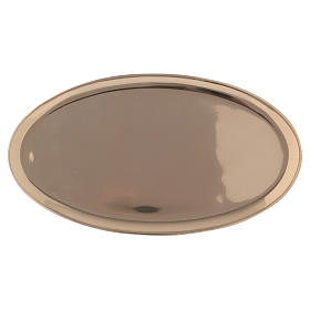 Piattino portacandela ovale ottone lucido a specchio 20x11 cm s1