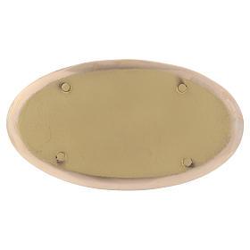 Piattino portacandela ovale ottone lucido a specchio 20x11 cm s2