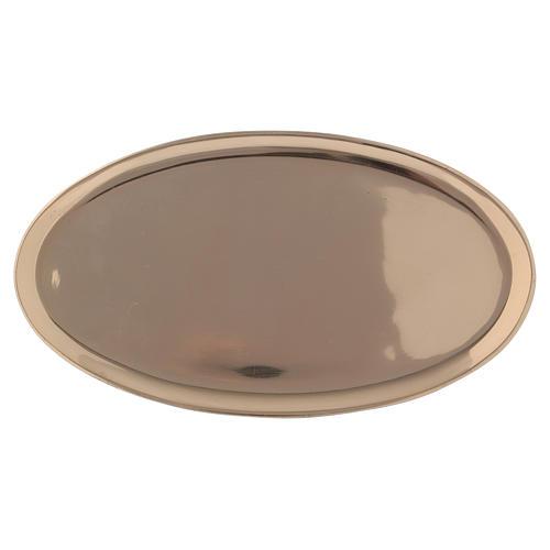 Piattino portacandela ovale ottone lucido a specchio 20x11 cm 1