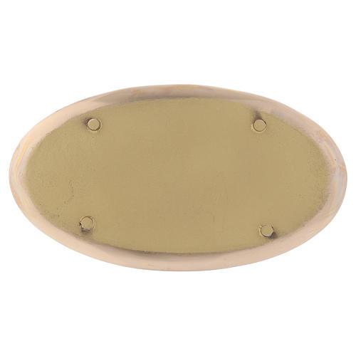 Piattino portacandela ovale ottone lucido a specchio 20x11 cm 2