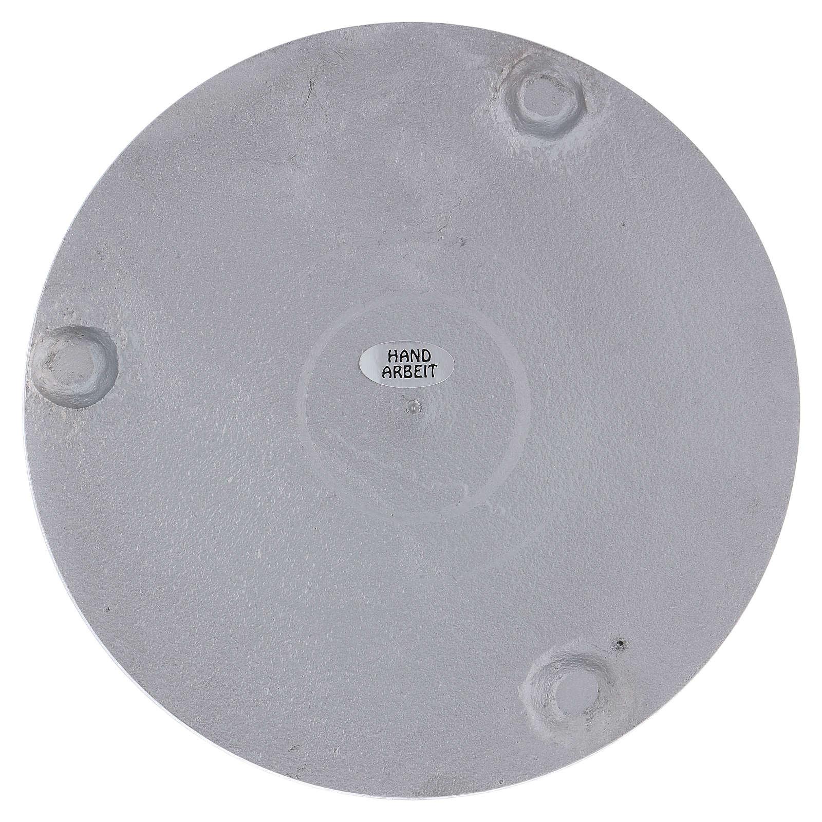 Piattino portacero rotondo alluminio argentato satinato 15 cm 3