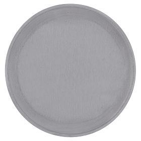 Piattino portacero rotondo alluminio argentato satinato 15 cm s1
