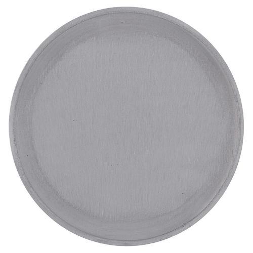 Piattino portacero rotondo alluminio argentato satinato 15 cm 1