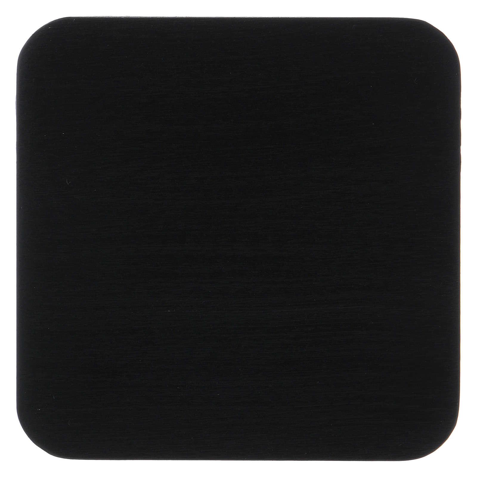 Piattino quadrato portacandela striato alluminio nero 10 cm  3