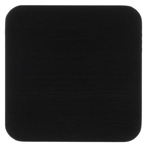 Piattino quadrato portacandela striato alluminio nero 10 cm  1