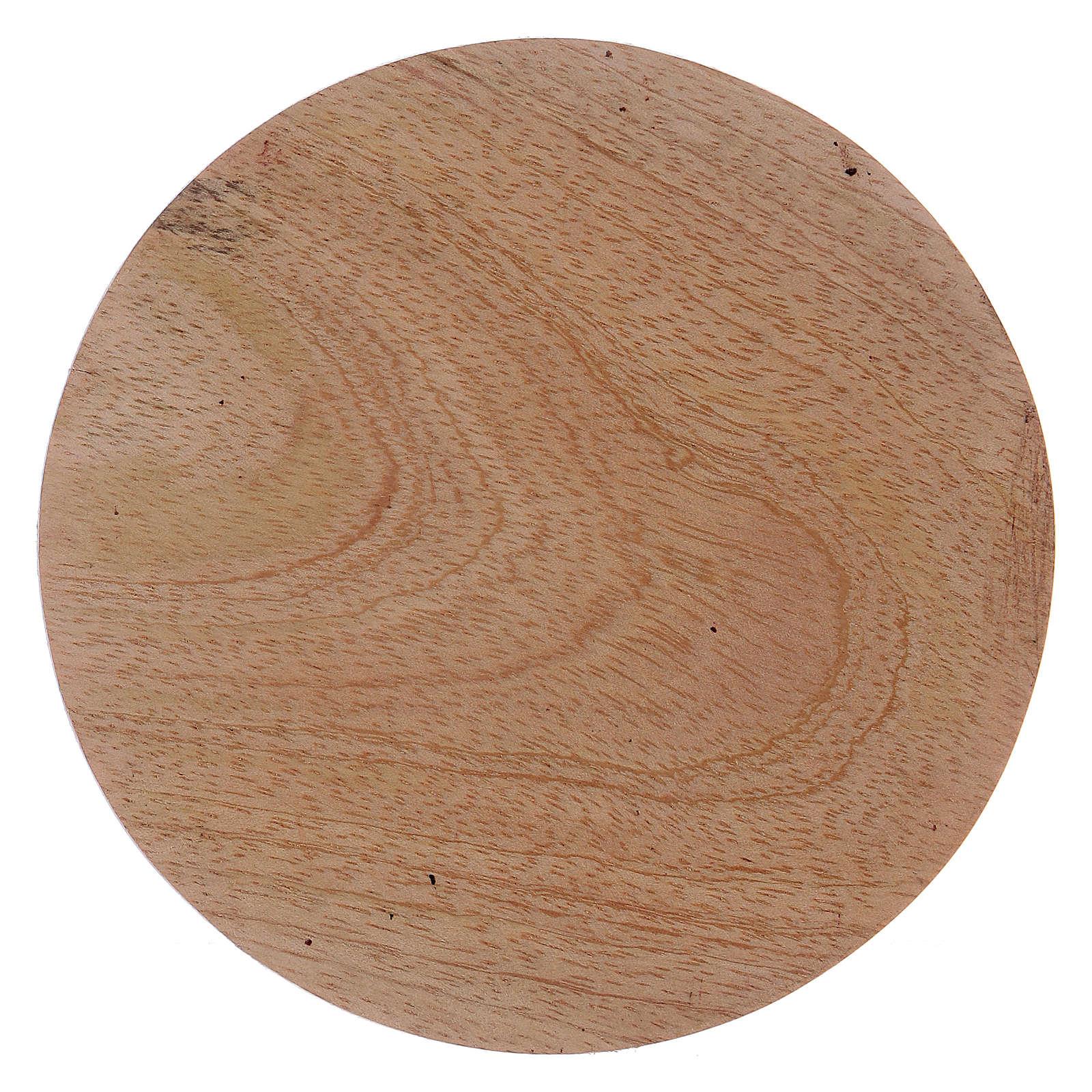 Platillo portavela redondo de madera 10 cm 3