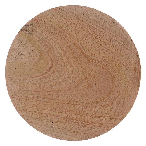 Platillo portavela redondo de madera 10 cm 1