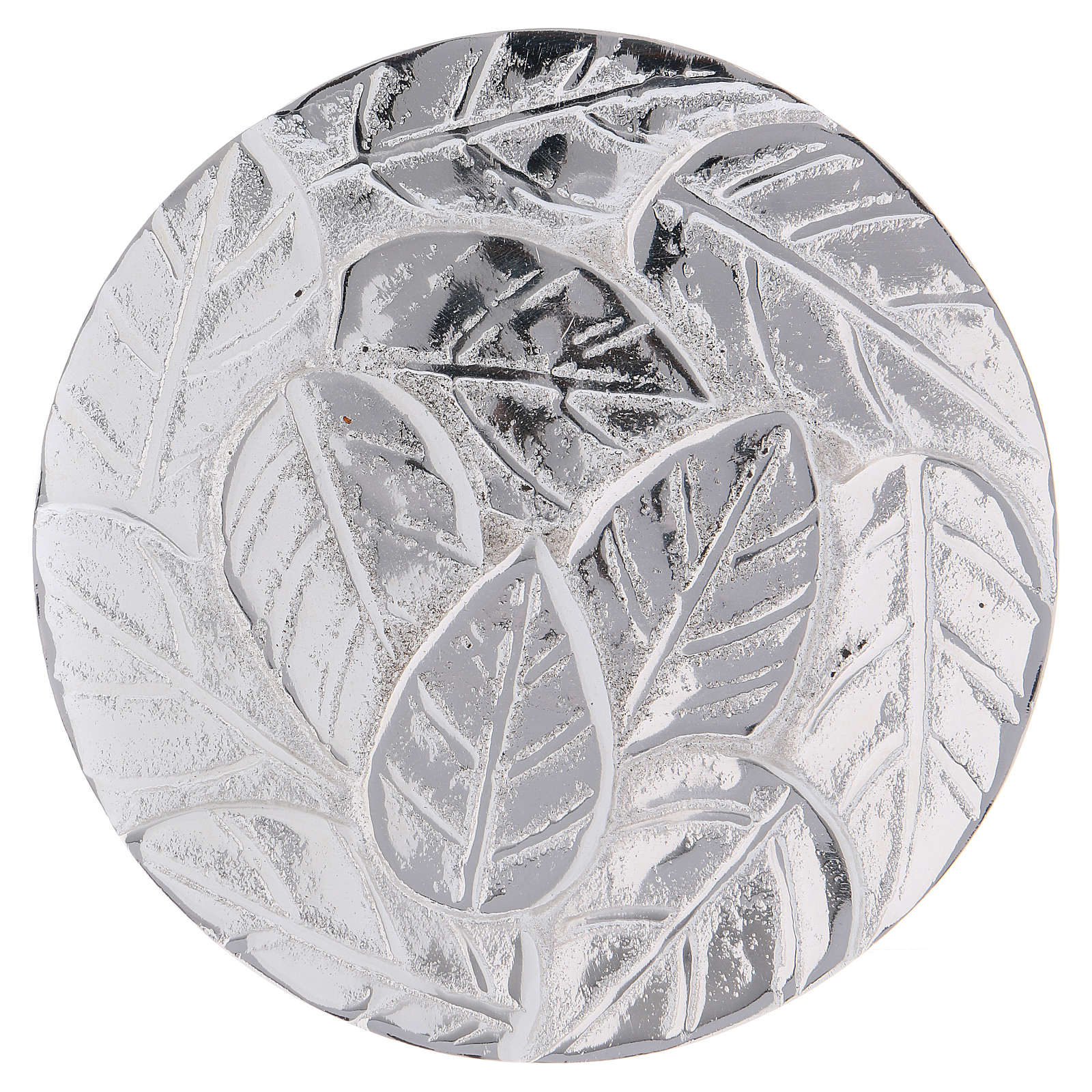 Candle holder plate in optical silver-plated aluminium with leaves 9 cm 3