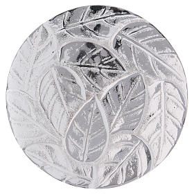 Candle holder plate in optical silver-plated aluminium with leaves 9 cm s1