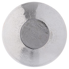 Candle holder plate in optical silver-plated aluminium with leaves 9 cm s2