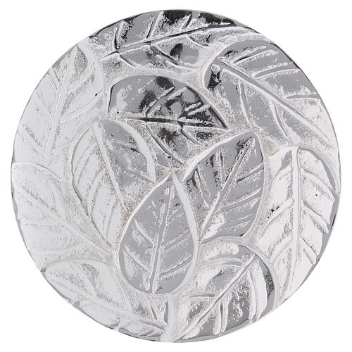 Candle holder plate in optical silver-plated aluminium with leaves 9 cm 1