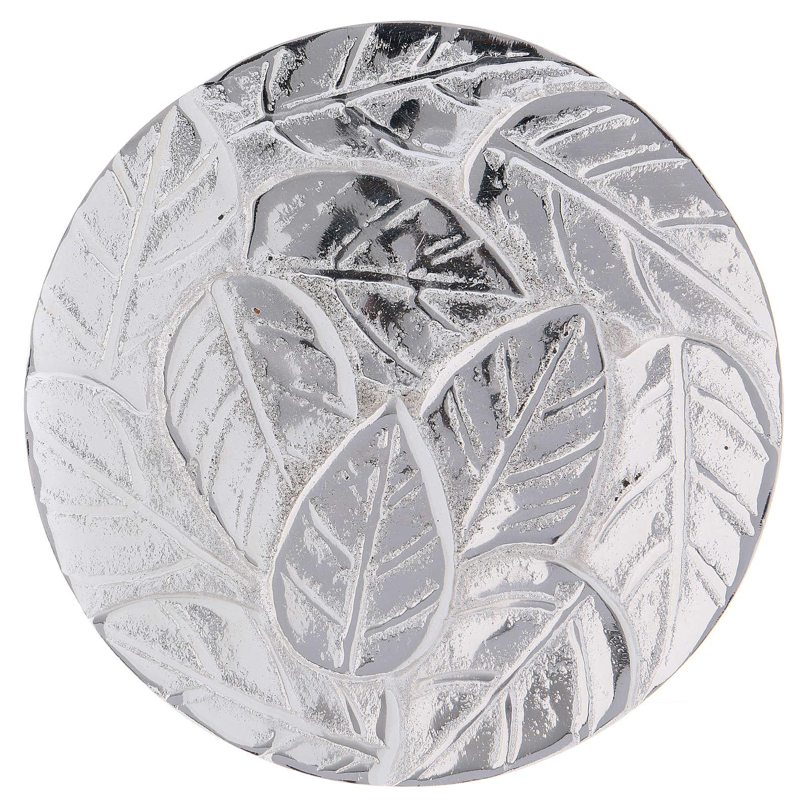 Piattino portacandela decoro foglie alluminio argento ottico 9 cm 3