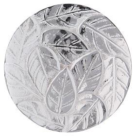 Piattino portacandela decoro foglie alluminio argento ottico 9 cm s1