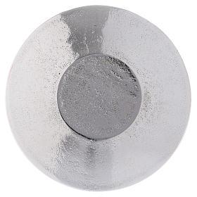 Piattino portacandela decoro foglie alluminio argento ottico 9 cm s2
