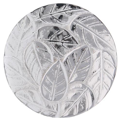 Piattino portacandela decoro foglie alluminio argento ottico 9 cm 1